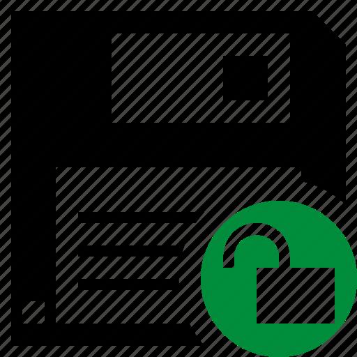 backup, data, disk, download, file, save, unlock icon