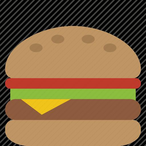 barbecue, bbq, bun, burger, cheese, cheeseburger, fast food, fastfood, hamburger, lettuce, sandwich, tomato icon