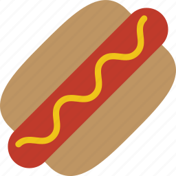 bbq, bun, hot dog, hotdog, mustard, sausage icon
