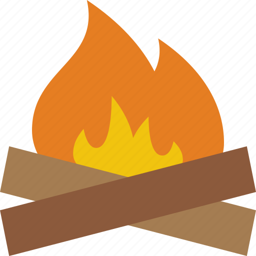 campfire, camping, fire, flame, hiking, log, picnic icon
