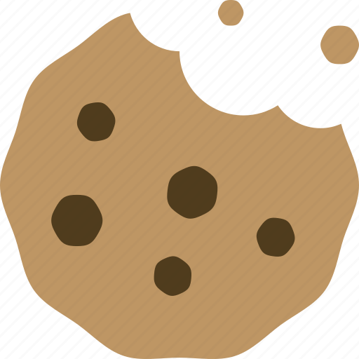 chocolate chip, cookie, junk food, snack icon