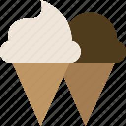 cones, dessert, ice cream, junk food icon