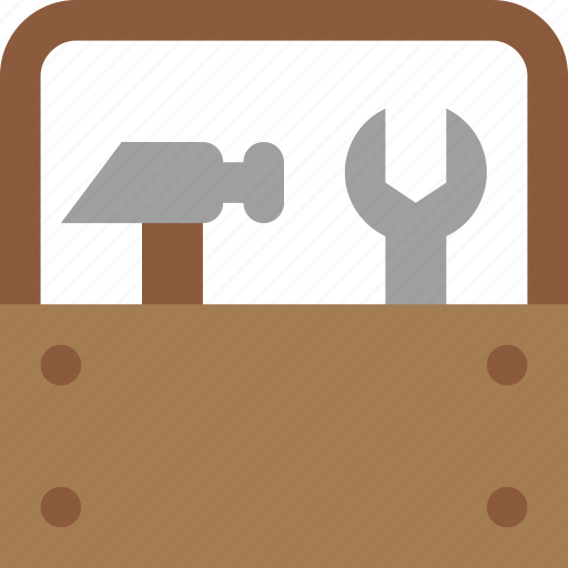 construction, hammer, toolbox, wrench icon
