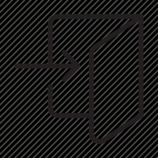 door, in, log, login, sign in, step icon