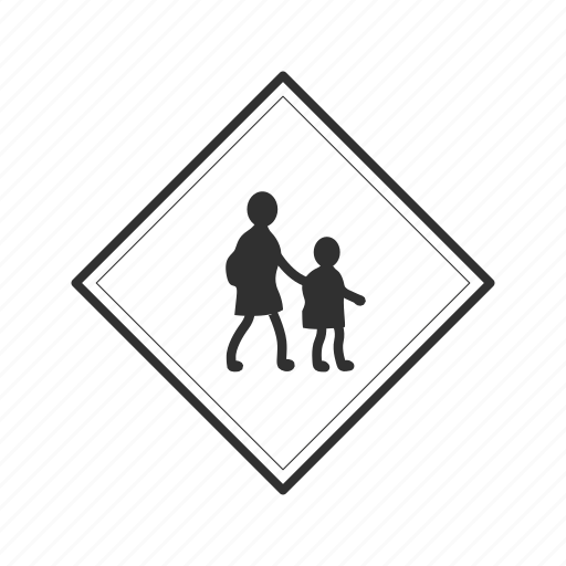 children crossing, crossing symbol, crossing zone, parents and child crossing, school, school zone icon