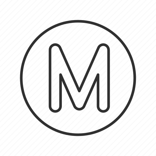 capital m, letter m in a circle, m, m button, male icon