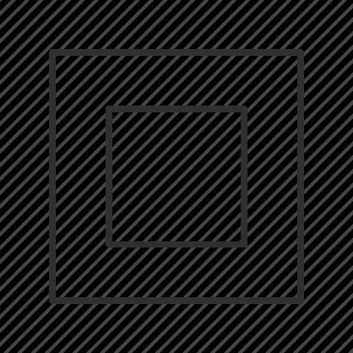 cube, frame, frame button, square, square button, square outline, stop icon
