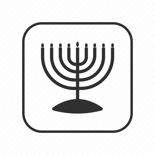 candles, candlestick, hanukkah, jewish, menorah, menorah with nine branches, nine candles icon