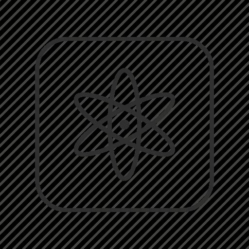 atom, atom symbol, element, nucleus, particle, research, science icon