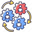 human synergy, cooperation, human synergy icon, collaboration