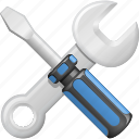 construction, home improvement, screwdriver, spanner, tools, wrench icon