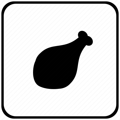 border, chicken, food, meat, rounded, square icon