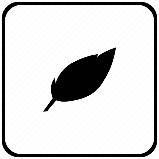 art, border, feather, pen, rounded, square icon