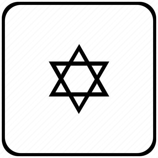 border, israel, religion, rounded, square icon