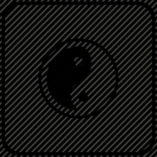 border, religion, rounded, square, yang, yin icon