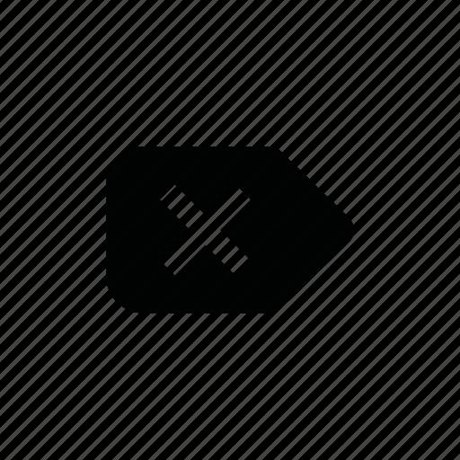 clear, delete, destroy, kill, label, remove, tag icon