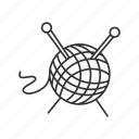 ball, clew, knit, knitting, needle, tailoring, yarn icon