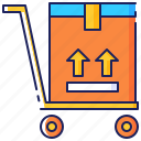 box, cargo, hand, package, shipment, trolley, truck icon