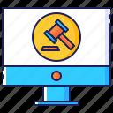 auction, bid, computer, hammer, internet, online, transaction