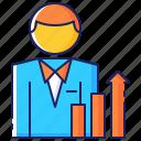 business, businessman, finance, increase, profit, progress, sales icon