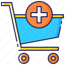 add, cart, commerce, purchase, shopping, trolley icon