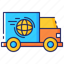 delivery, distribution, express, international, shipping, transport, worldwide icon