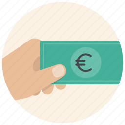 cash, dollar, finance, hand, money, payment, shop icon