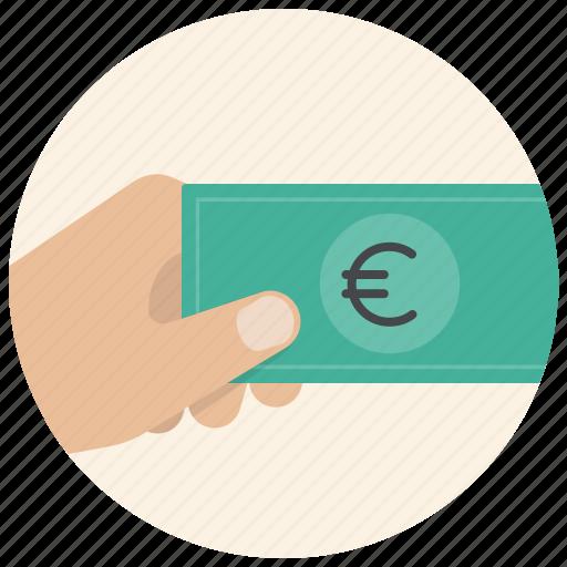 cash, dollar, finance, hand, money, payment, shop icon
