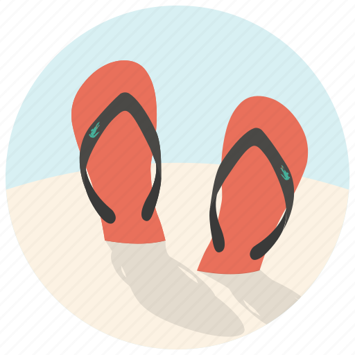 beach, flip flops, flip-flops, footwear, sandals, shoes, summer icon