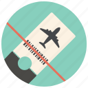 airplane, airplane ticket, airport, flight, plane, ticket, travel icon
