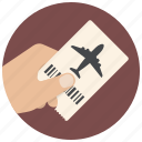 airplane, airport, flight, hand, plane, ticket, travel icon