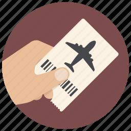 airplane, airport, flight, hand, plane, ticket, travel icon