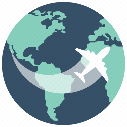 earth, fly, globe, plane, transport, travel, world icon