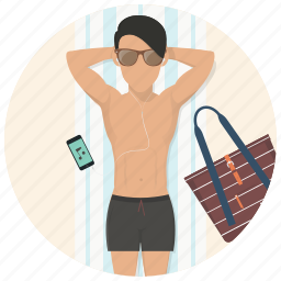 holiday, man, summer, sunbath, sunbathing, travel, vacation icon