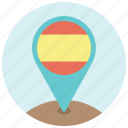 flag, map, navigation, pin, spain, spanish, travel icon