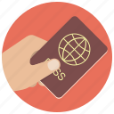 document, hand, id, identification, pass, passport, travel icon
