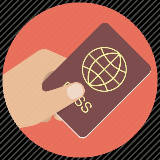 document, hand, id, identification, pass, passport, travel icon