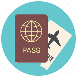 document, flight, id, passport, ticket, travel, traveling icon
