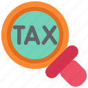 duti, finance, magnifier, money, search, tax, taxes icon