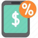 cash, discount, finance, money, percent, smartphone, taxes icon