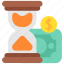 cash, coin, duti, finance, hourglass, money, taxes icon