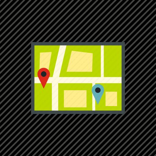 direction, location, navigation, navigator, pin, road, tablet icon
