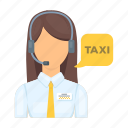 avatar, dispatcher, girl, microphone, service, taxi, woman icon