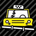 accident, break, car, puntucure, taxi, transport