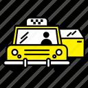 car, door, open, taxi, transport