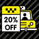 car, discount, off, taxi, transport