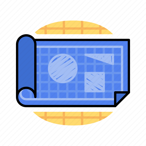 blueprint, drawing, note, write icon