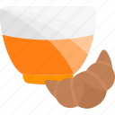 croussant, drink, food, tea icon