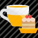 cake, glass, sweet, tea