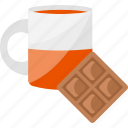 chocolate, glass, sweet, tea icon